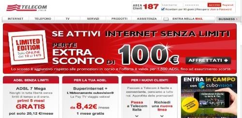 Telecom Italia: 100 euro di sconto extra per chi sceglierà Internet Senza Limiti