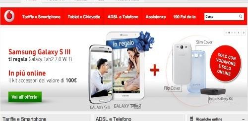 Vodafone: a chi compra un Samsung Galaxy S3 in regalo 100 euro di accessori