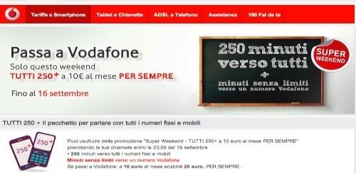 Super Weekend Vodafone: Tutti 250+ a 10 € al mese per sempre