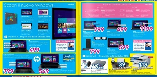 Euronics lancia il nuovo volantino con l'anteprima di Windows 8