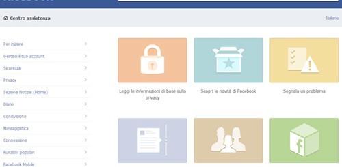 Facebook, Centro Assistenza