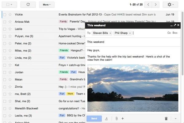 Pop-up per la composizione di messaggi su Gmail