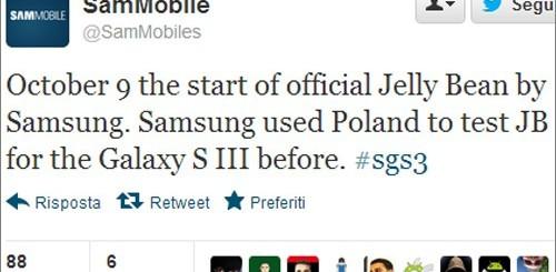 Samsung Galaxy S3, aggiornamento Android 4.1 Jelly Bean