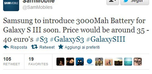 Samsung Galaxy S3, batteria