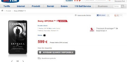 Sony Xperia T arriva nel listino di TIM, ecco l'offerta dedicata