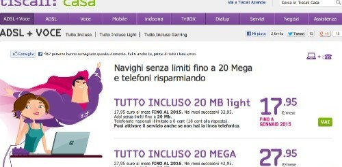 Tiscali sconta Tutto Incluso 20 Mega sino al 2016