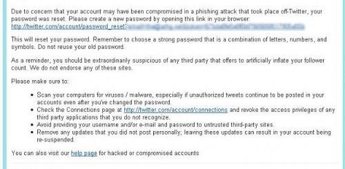 Twitter cambiare la password