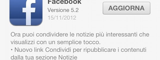 Facebook 5.2 per iOS