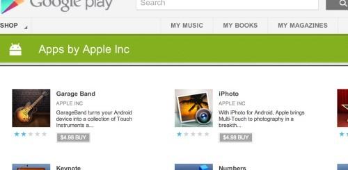 Applicazioni Apple su Google Play