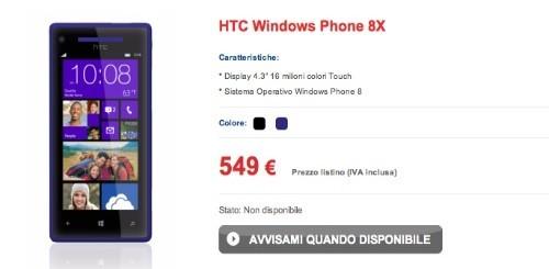 HTC 8X entra nel listino TIM