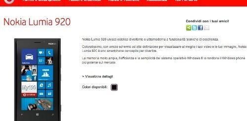 Nokia Lumia 920: ecco l'offerta dedicata di Vodafone