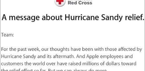 Apple, donazione alle vittime dell'uragano Sandy
