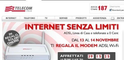 Telecom Italia: un modem WiFi in regalo per chi sottoscriverà Internet Senza Limiti