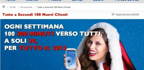 TIM Tutto a Secondi 100: ogni settimana 200 minuti verso tutti a 3 euro per tutto il 2013