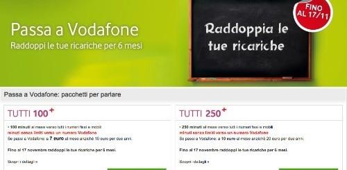 Passa  Vodafone: sino al 17 novembre 6 mesi di raddoppio delle ricariche