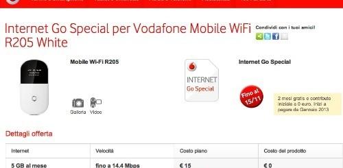 Vodafone: Mobile WiFi e due mesi di internet gratis con Internet Go Special