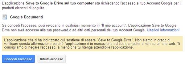 Google Chrome, estensione Save to Drive