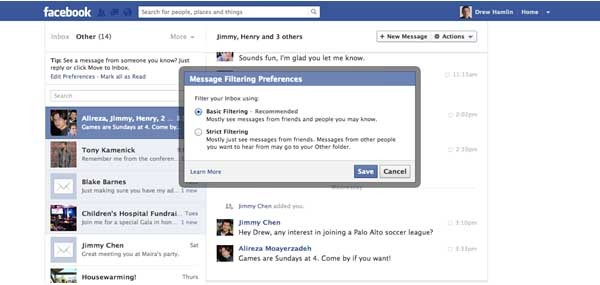 facebook filtri messaggi