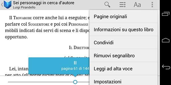 Google Play Libri, ecco la nuova opzione Leggi ad alta voce