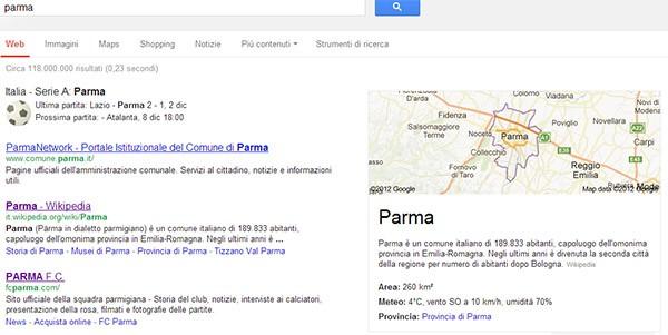 """Google Knowledge Graph, esempio di ricerca su """"Parma"""""""