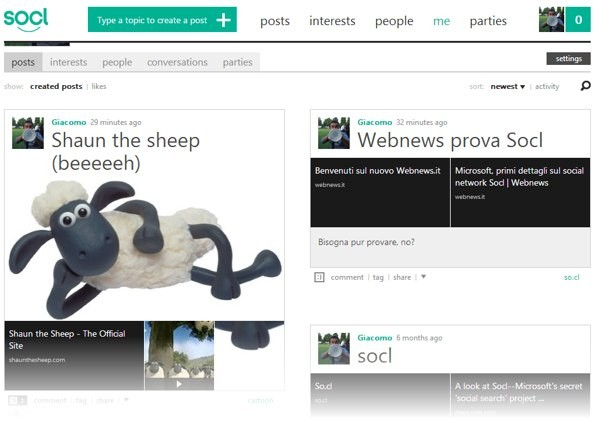Pagina di profilo su Socl