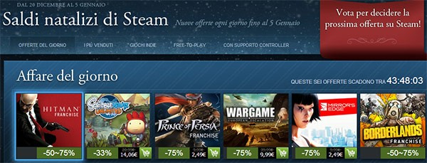 Steam, al via i saldi di Natale