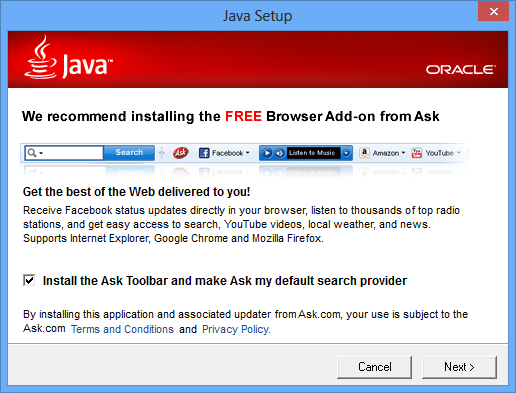 Ask Toolbar in Java