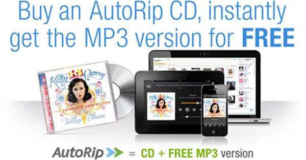 Amazon AutoRip permette a tutti coloro che acquistano (o hanno acquistato a partire dal 1998) CD sullo store online di avere la propria musica gratuitamente anche in formato MP3, su Amazon Cloud Player