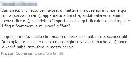 Bufala che circola su Facebook