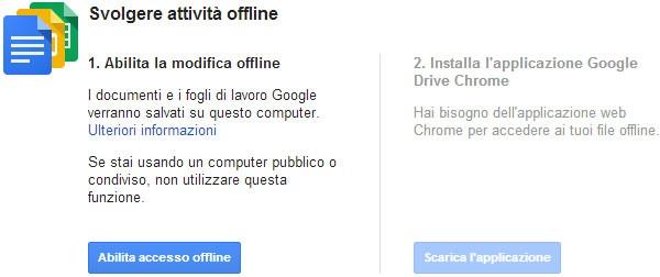Gli step necessari per poter utilizzare gli strumenti di Google Docs (Google Drive) anche offline