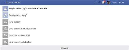 Una ricerca Bing su Facebook