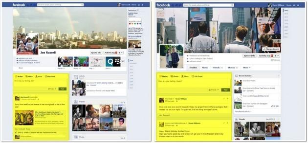 Facebook confronto Timeline