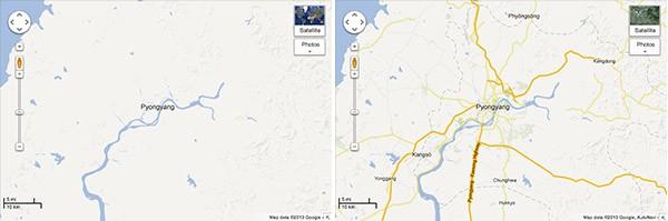 Pyongyang, la capitale della Corea del Nord, prima e dopo l'aggiornamento odierno di Google Maps