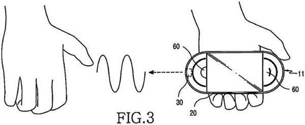 """Un'immagine dalla documentazione depositata da Samsung per il brevetto relativo al """"lettore multimediale con air guitar"""""""