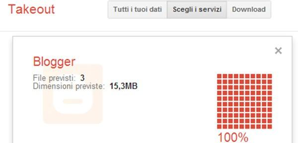 La schermata di Google Takeout che mostra l'esportazione dei file da Blogger