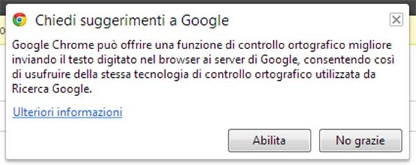 """La schermata per abilitare l'opzione """"Chiedi suggerimento a Google"""" nel browser Chrome"""