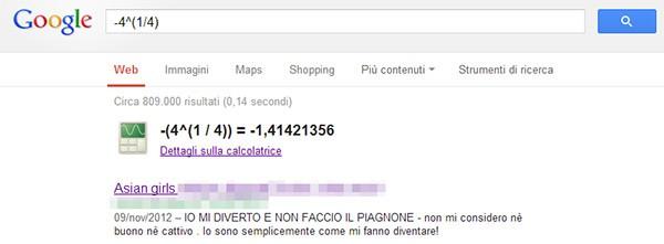 I risultati della query -4^(1/4) mostrati su Google, contenenti link a siti pornografici