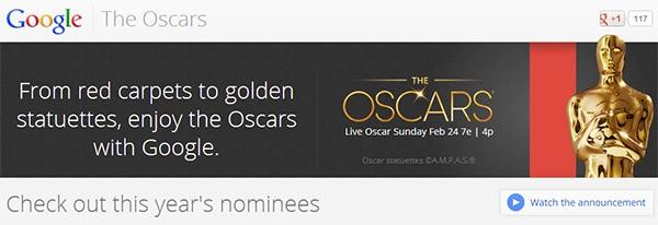 La pagina di Google dedicata agli Oscar, con tutte le nomination e i film in gara