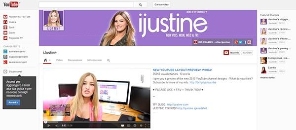 Il canale iJustine è uno dei primi ad accogliere il nuovo look preparato dal team di YouTube
