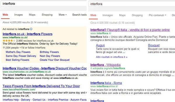 """La SERP per la keyword """"interflora"""": differenze tra la versione britannica di Google (sinistra) e quella italiana (destra)"""