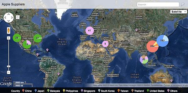 Mappa dei fornitori Apple