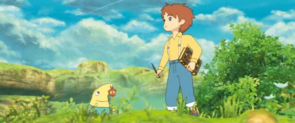 Il piccolo Lucciconio con Oliver, i protagonisti di Ni no Kuni: La minaccia della Strega Cinerea