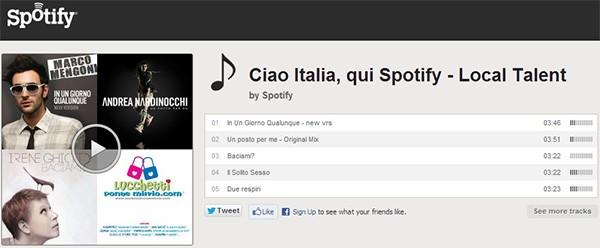 """Alcuni brani dei cantanti nostrani inseriti da Spotify nella playlist """"Ciao Italia"""""""
