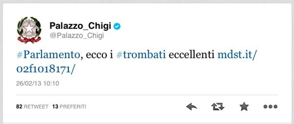 tweet Palazzo Chigi errato