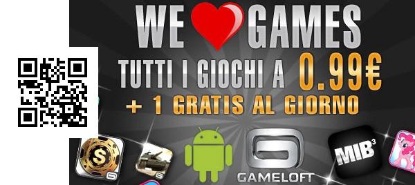 L'iniziativa We Love Games lanciata oggi da Gameloft per San Valentino e il codice QR per scaricare i giochi gratis
