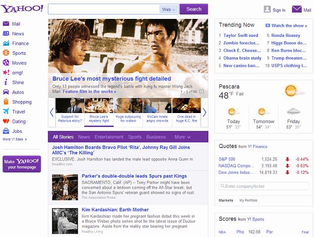 La nuova Homepage di Yahoo