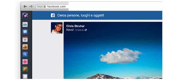 Il nuovo feed di Facebook: icone sulla sinistra, immagini più grandi, il motore Graph Search in evidenza in alto.