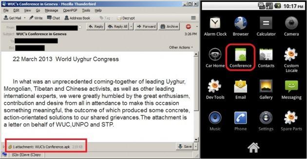 Il file APK allegato al messaggio contiene un malware per Android.
