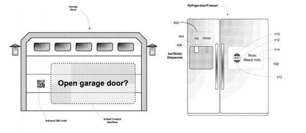 Esempio sul brevetto dei Google Glass che mostra come aprire un garage a distanza