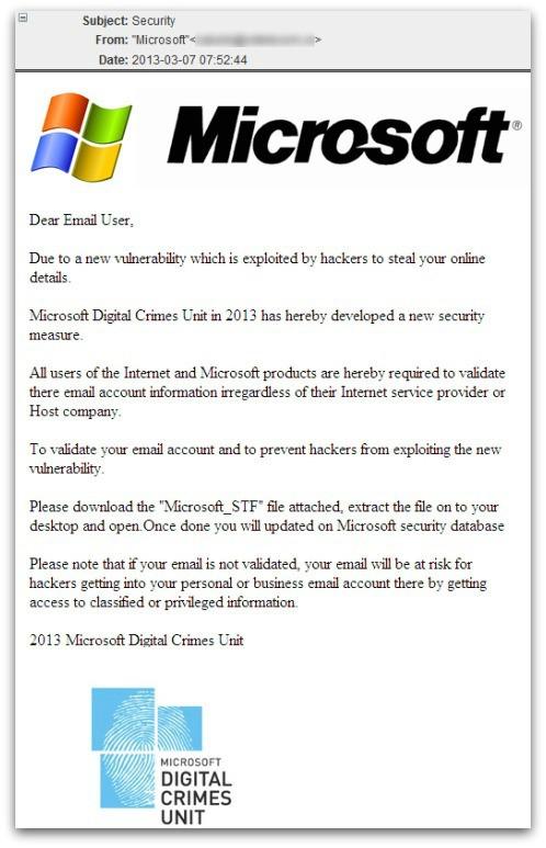 Messaggio di phishing Microsoft